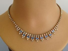 1940s Austrian Crystal Necklace with Blue Baguette Jewelled Details (Sold)